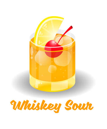 Fresh ice frozen alcoholic orange drink bar cocktails Whiskey Sour in good glass made with bourbon lemon juice and a teaspoon of sugar. Modern vector style illustration isolated white background Ilustracja