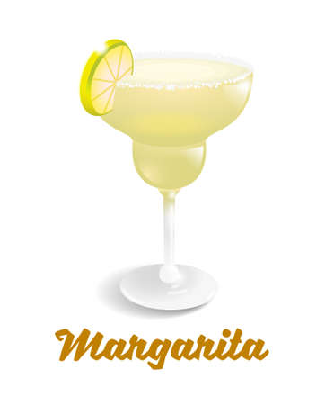 Yellow frozen alcoholic cocktail drink fresh Margarita in good glass. It's best made with tequila, fresh lime juice, and agave syrup. Modern vector style illustration party isolaited white background.
