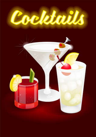 Dark cherry abstract background poster with fresh ice frozen alcoholic cocktails Bloody Mary Tom Collins Dry Martini advertising for business bar restaurant party beach club Modern illustration