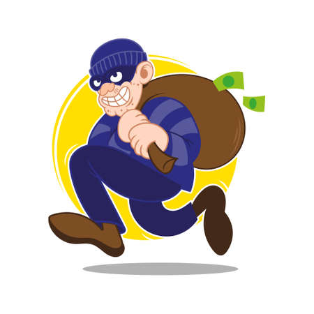 Cartoon dangerous criminal insidious cunning thief dressed in dark mask fast running big bag stolen more moneys and coins. Bank finance fraud. Modern vector style illustration flat design.