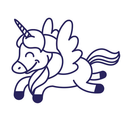 Icon very cute smile fantasy little pony colorful unicorn pegasus which fly in beautiful magic space sky. Vector modern illustration flat design cartoon character kids children. Mascot print clothes.