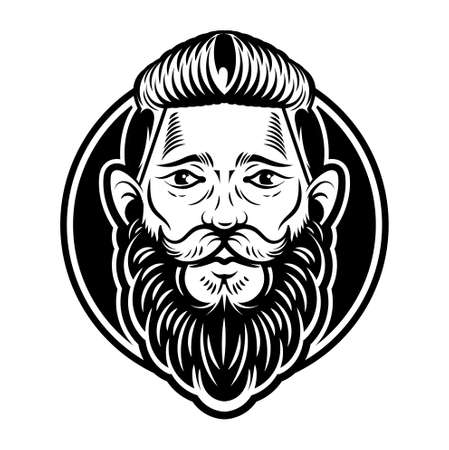 Vintage custom graphic engraving hipster face man barber viking with big black beard mustache and stylish hairstyle on old textured background. Vector modern style illustration. Retro signboard label.