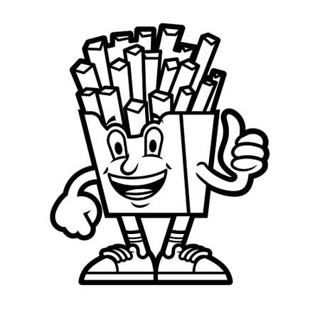 Cute cartoon character delicious American line French fries in red box which stand and show thumb up Dressed up in cap and fashionable sneakers. Modern mascot for kids kids coloring or print design