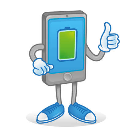 Digital Icon new smartphone tablet show thumb up. Phone with full percentage of charge accumulator battery energy. Excellent condition work Modern illustration flat design cartoon character technology