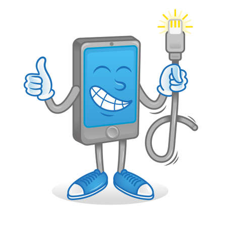 Icon cute happy smartphone phone gadget tablet show thumb up like it and keep new original good usb charging cord for energy. Repair service. Modern illustration flat design mascot technology. Vettoriali