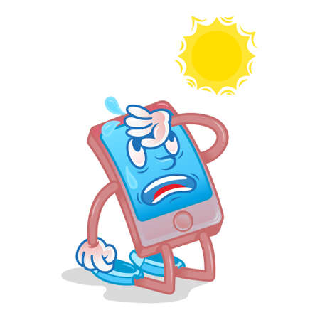 Very tired and exhausted by the sun smartphone gadget which hit under hot temperature or stay for a long time under burning sun damaged by heat need repair Modern vector style cartoon character