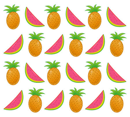 Icons set element subjects good summer very fresh delicious tropical fruits watermelon and pineapple in pattern wallpapers poster for background. Modern vector style illustration flat design cartoon. Ilustração