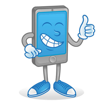 Digital icon cute smile happy new good grey smartphone phone gadget tablet phone which show thumb up like it. Blue display touch screen. Modern vector style illustration flat design mascot technology.