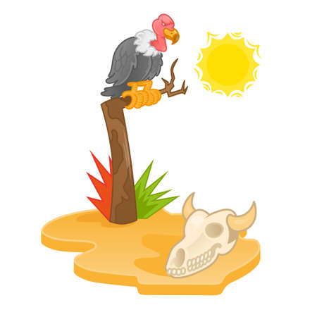 Game 2d icon island with hot sun desert view with gold yellow sand dry old tree on which sits big angry bird wild vulture and look on animal cow skull or bull Modern vector style illustration cartoon