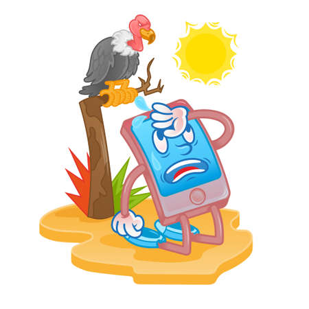 Mobile smartphone tablet gadget which is tired from hot sun desert and need help repair service. Does not work from overheating sistem. Modern vector flat design cartoon character. cause of breakdown. Ilustração