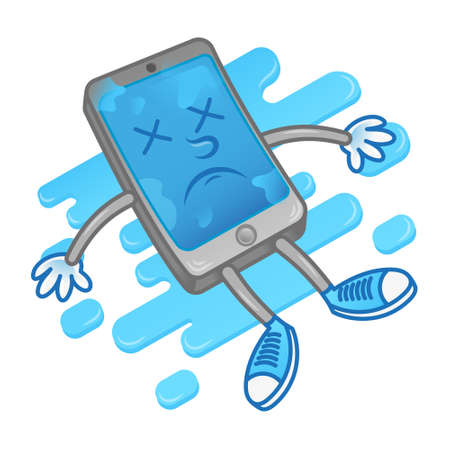 Isometric sad lie dead wet smartphone mobile phone tablet gadget after getting into the water need repair service help. Modern vector style 2d icon illustration cartoon character flat design. 向量圖像