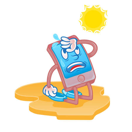 Mobile smartphone tablet gadget which is tired from hot sun desert and need help repair service. Does not work from overheating sistem. Modern vector flat design cartoon character. cause of breakdown. Illustration
