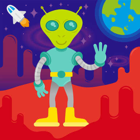 Cute friendly in space suit alien astronaut  from mars or another galaxy planet. colonization discover mission first contact UFO. On background red mars open space with stars blue earth and rocket. Illustration