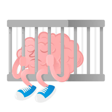 Sad brain which is with depression, inefficient and tired, sit in a hostage in prison metal cage. Modern vector style illustration flat design cartoon character. Icon poster mascot infographic.