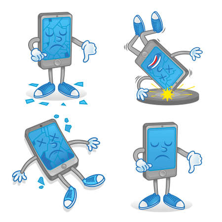 Set icon differences sad dead smartphone mobile tablet which fall down floor and cracks broken touch screen display problem need repair service help. Modern illustration flat design cartoon character.
