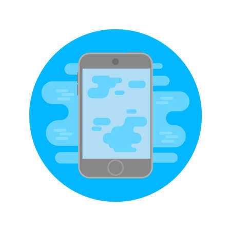 Flat minimal icon logo smartphone gadget which is damaged by water drowned phone and need fast repair clean from water and dirt. Blue circle shape modern vector style illustration technology.