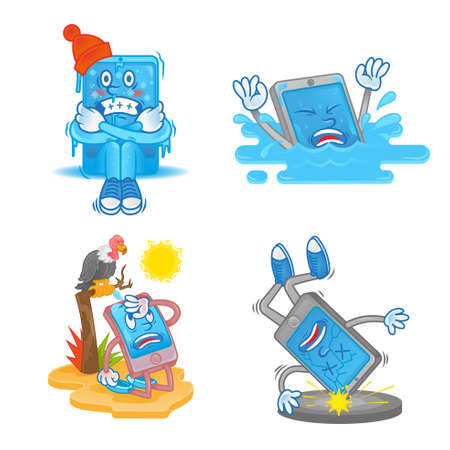 Good set digital icon with different smartphone gadget tablet mobile problem situation   happened with phone need help clean the best repair service. Modern illustration flat design cartoon character. 向量圖像