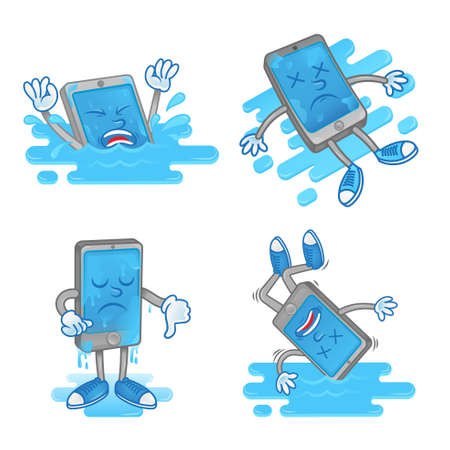 Set icon differences sad dead smartphone mobile tablet which fall down in blue water wet touch screen display problem need clean repair service help. Modern illustration flat design cartoon character.