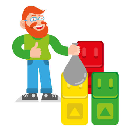 One young cute happy smile fun redhead man hipster with good beard from eco city to take sorted out the trash waste in special containers Vector modern style illustration cartoon character flat design  イラスト・ベクター素材
