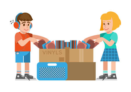 Cute smile young hipster boy and girl which looking at different vintage old vinyls with music for buy in musical vinyl store shop. Modern vector style illustration cartoon character flat design.