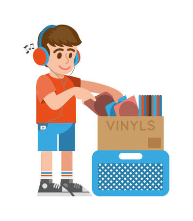 Cute smile young hipster boy in headphone which looking at different vintage old vinyls with music for buy in musical vinyl store shop. Modern vector style illustration cartoon character flat design.