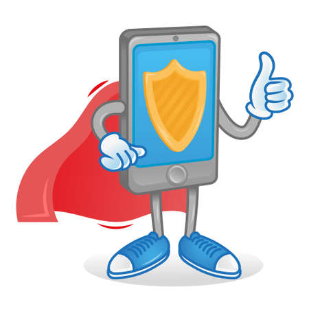 Digital icon new good smartphone phone gadget tablet phone superhero with red cloak which are protected cyber safety security show thumb up like it display. Modern illustration flat design mascot. Vettoriali