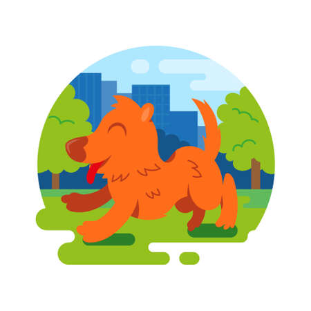 Round abstract icon very cute smile orange dog which fast run jump and spend time walk outdoor outside in city green park. Vector modern style flat design illustration cartoon character.