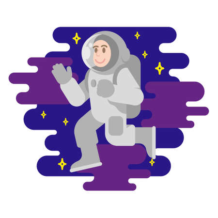 Young smile cute cosmonaut astronaut in spacesuit which fly in free space between stars cosmic clouds. Flying conquest man into space. Modern vector style flat design illustration minimal. Vettoriali