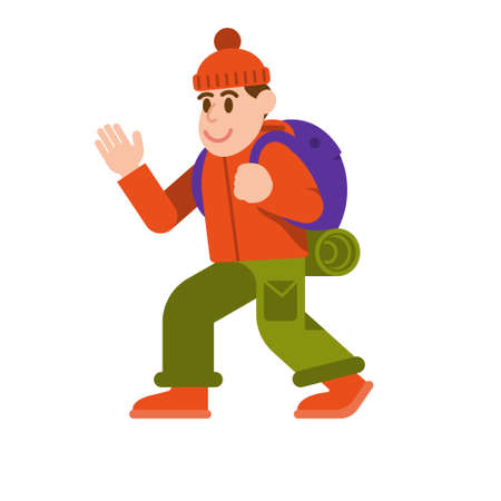 Young cute smile traveler man good tourist comfortable clothing with big backpack  walk in travel outdoor hiking trip go mountains Vector modern style flat design illustration icon cartoon character Banque d'images - 127525336