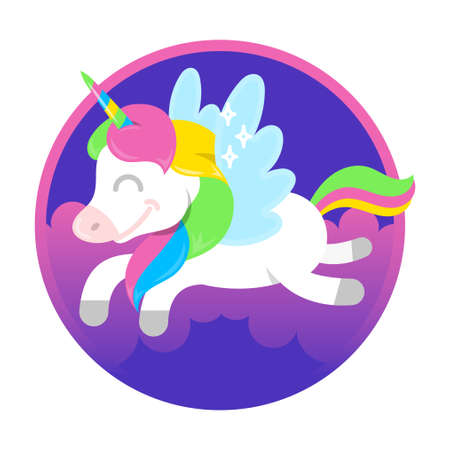 Icon very cute smile fantasy little pony colorful unicorn pegas which fly in beautiful magic space sky. Vector modern style illustration flat design cartoon character kids children concept.