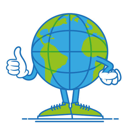 One round fun big cute blue world planet earth  which confidently stand in shoes and show a finger up, it like it. Modern vector style cartoon character illustration flat design. Mascot logo icon 일러스트