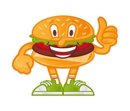 icon cute smile cartoon character American hamburger which stand and show thumb up like it. Dressed up in fashionable sneakers. Modern illustration mascot logo for kids flat design