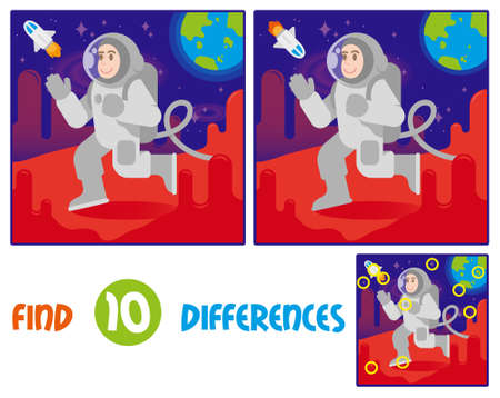 Find differences logic education interactive game for children. Young happy smile cute cosmonaut astronaut in space suit and helmet walk, Arrived the landing on Mars. red planet blue earth stars Ilustração