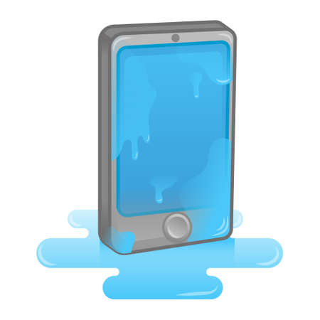 Digital isometric Icon smartphone tablet gadget get wet in water. Problem with phone need help clean repair service. Modern vector illustration flat design cartoon character technology.