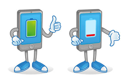 Set two digital cartoon characters icons smartphone tablet gadget with different battery charge full and low interest energy accumulator. They show thumb up and down. Modern illustration flat design. Illustration