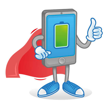 Digital Icon new smartphone tablet show thumb up. Phone superhero in red cloak with full percentage of charge accumulator battery energy. Excellent condition work Modern illustration cartoon character Stock Illustratie