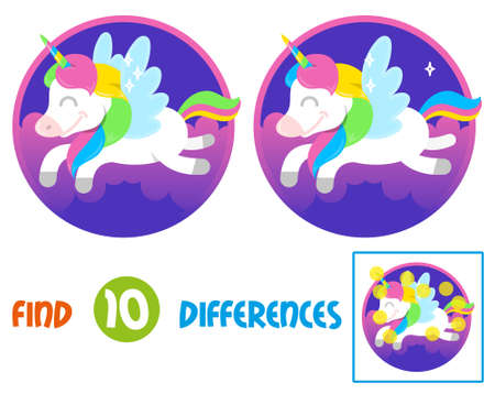 Find differences logic education interactive game for children. ute smile fantasy little pony colorful unicorn which fly in beautiful magic space sky Illustration cartoon character kids concept