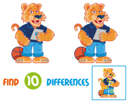 Find differences logic education interactive game for children. Very cute and happy cartoon tiger which smile and keep and using the tablet gadget. Cartoon character for a kids school mascot education Ilustração