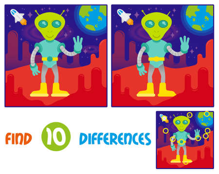 Find differences logic education interactive game for children. Cute friendly in space suit alien astronaut  from mars or another galaxy planet. red mars open space with stars blue earth and rocket.  イラスト・ベクター素材