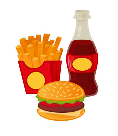 Good set of tasty street food. Classical french fries in red box, fresh sparkling drink, American fat hamburger. Menu for cafe bar fast food. Modern vector illustration element icon design.