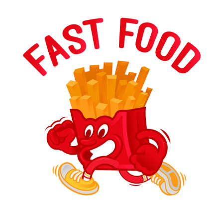 Icon crazy street food cartoon character American French fries in red box which fast run. Dressed up in fashionable sneakers. Modern vector illustration mascot logo for kids flat design