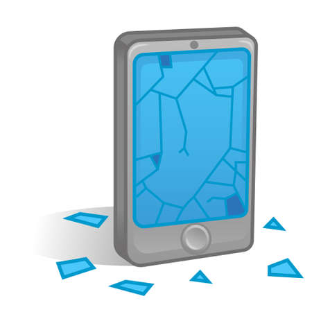 Isometric Icon Smartphone Mobile Phone Tablet Cracks Broken