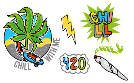 Good young set icon with leaf of marijuana which chill and to ride a skateboard, jamb with weed, bubble 420, and cartoon yellow lightning Modern illustration for print poster sticker pin patch t shirt