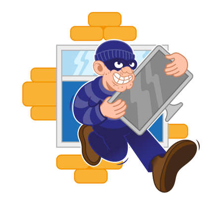 Cartoon dangerous criminal thief dressed in dark mask fast run away with big stolen plasma screen tv in hands from window of house. Modern vector style character illustration flat design. Çizim