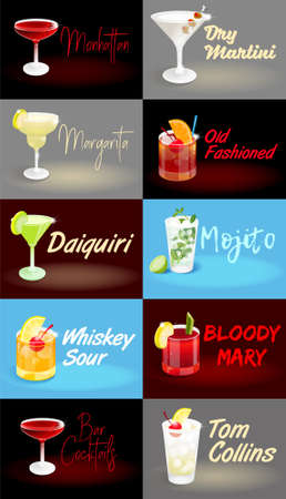 Set of summer blue and dark night abstract background poster pictures with fresh ice frozen alcoholic cocktails advertising business bar restaurant party beach club Modern vector illustration.