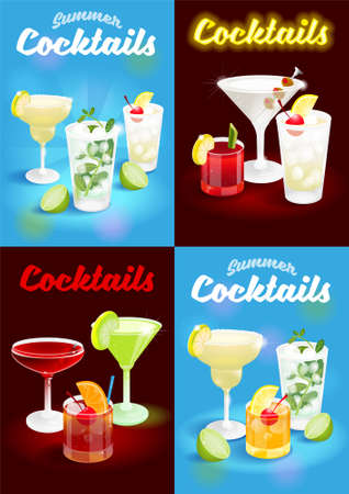 Set summer blue and dark night abstract background poster with fresh ice frozen alcoholic cocktails  advertising business bar restaurant party beach club Modern vector illustration.