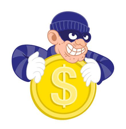 Cartoon dangerous criminal thief hacker virus dressed in dark mask stolen big gold coin of dollar from smartphone personal web wallet. Internet finance hacking fraud. Modern illustration flat design. Illustration
