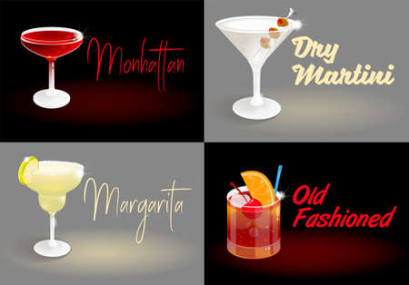 Set of summer dark night abstract background poster pictures with fresh ice frozen alcoholic cocktails advertising business bar restaurant party beach club Modern vector illustration.