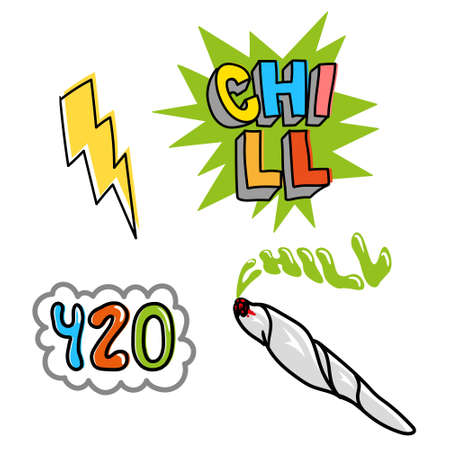 Good young set icon with elements for chill relax and enjoy, jamb with weed, bubble 420, and cartoon yellow lightning Modern illustration for print poster sticker pin patch t shirt clothes pattern