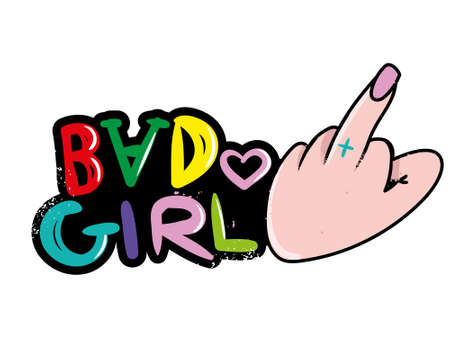 Icon punk antisocial girl hand which show middle finger with coloring lettering
